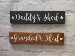 dads shed personalised wooden sign gift