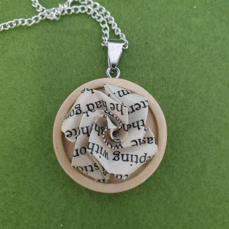 Secret Garden Upcycled Book Necklace on Etsy