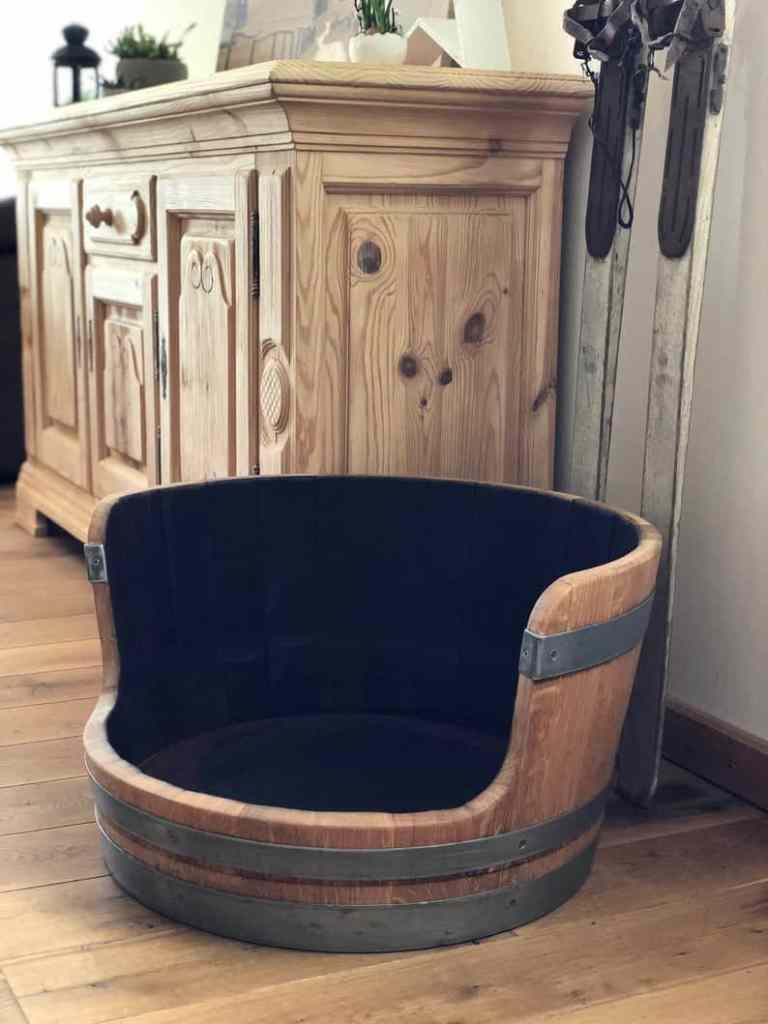 upcycled wine barrel dog bed