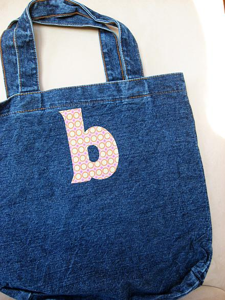 personalised applique tote with free printable letters