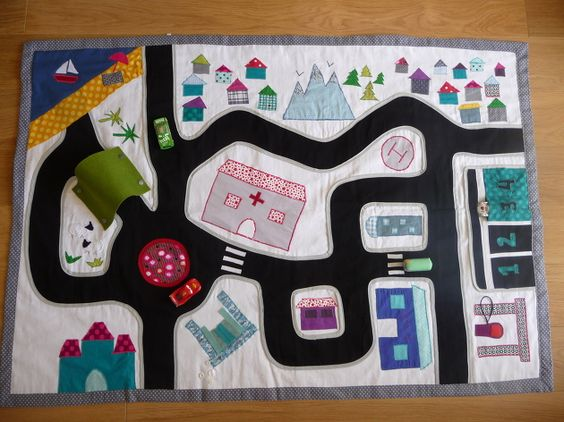 play mat with roads made from upcycled scrap fabric