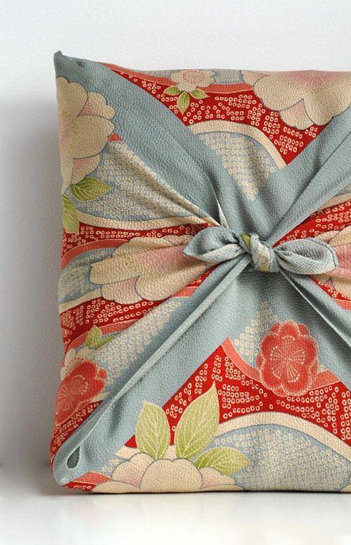 furoshiki upcycled fabric gift wrap