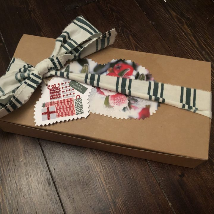 Roots Canada Box Upcycled as a Gift Box