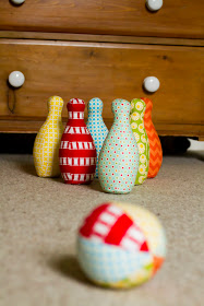 how to make a bowling set from scrap fabric