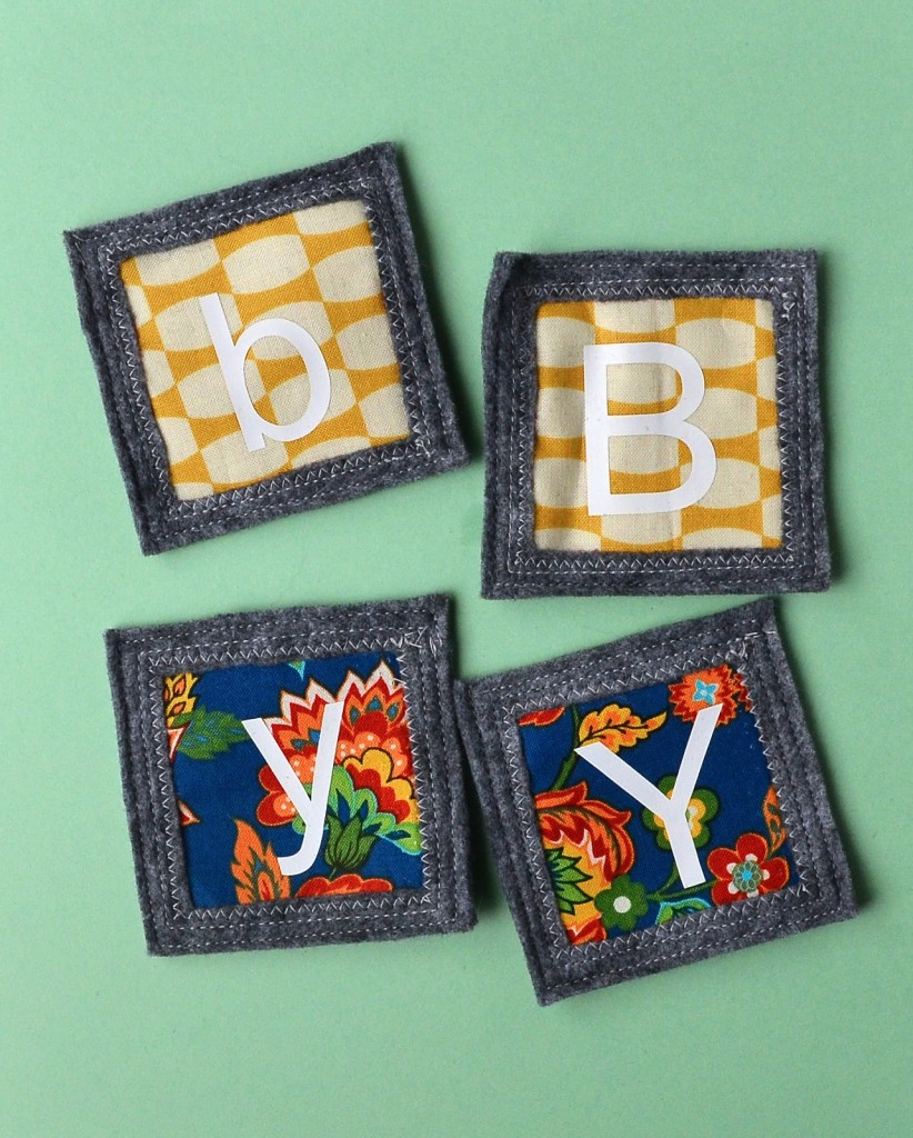 alphabet matching game from scrap fabric