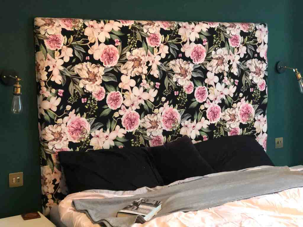 reupholstered headboard after