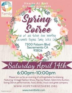 Spring Soiree Fundraiser for Sacramento Regional Family Justice Center flyer