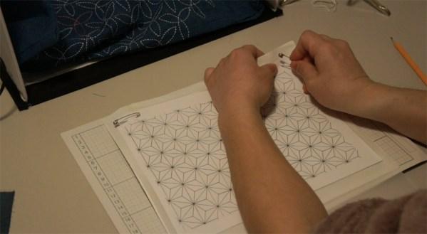 How to transfer Sashiko Patterns on to Fabric _4