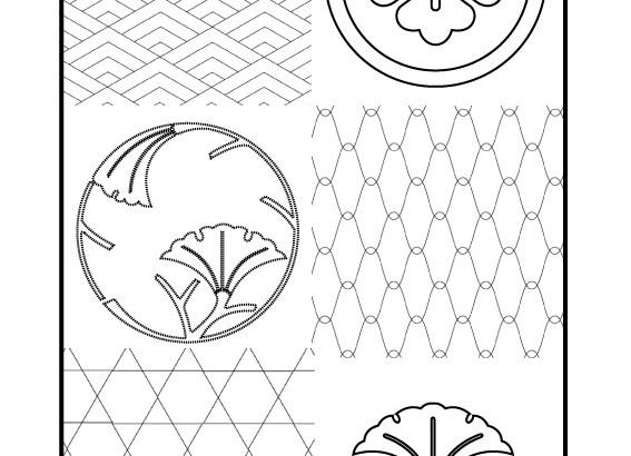 Sashiko patterns with Kamon and tradition