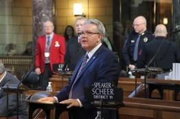 Speaker Jim Scheer greeted the body.