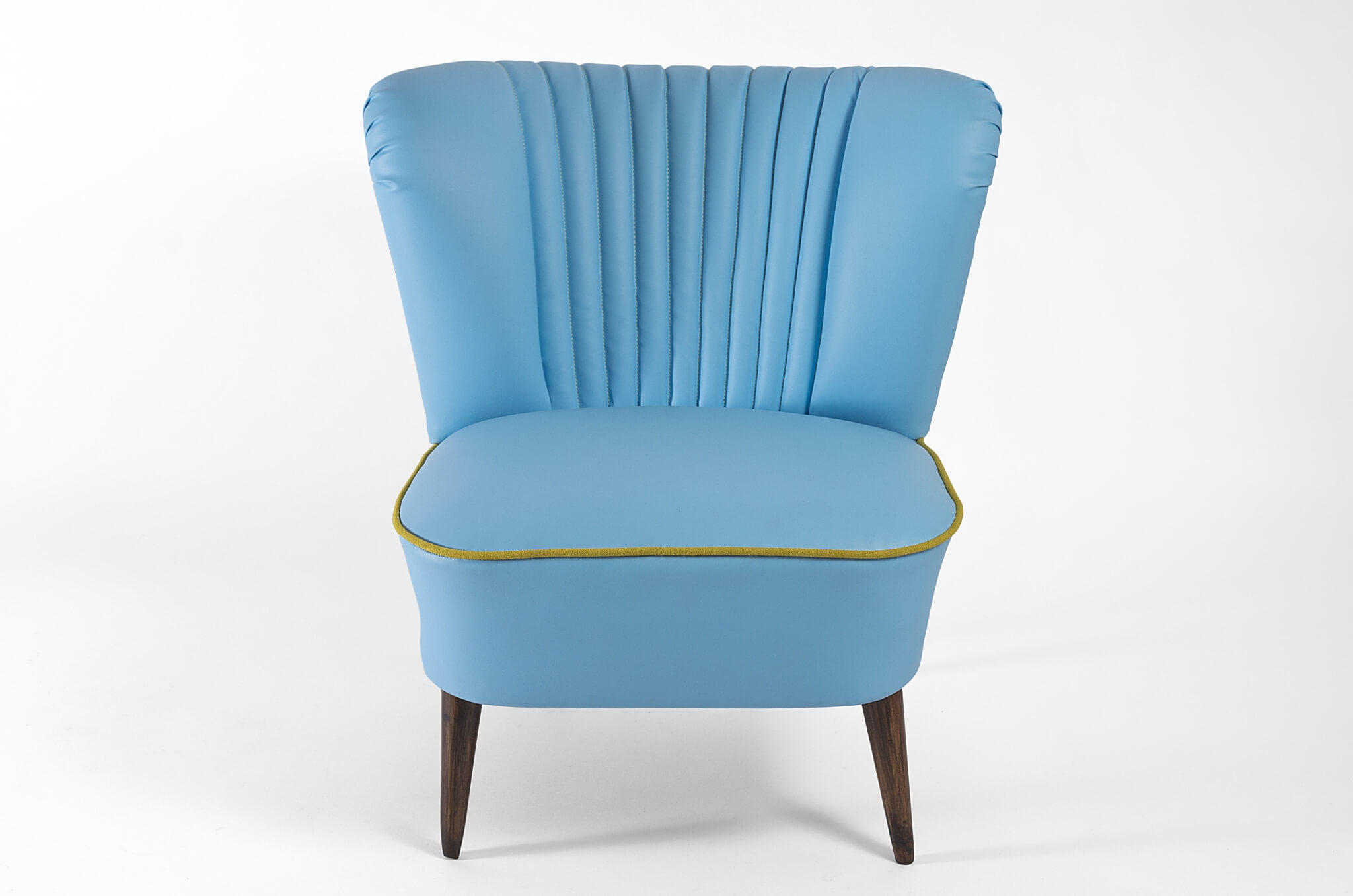 Blue Leather Club Chair Blue Faux Leather Club 1971 Restored Coctail Chair