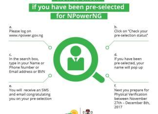 Npower Pre-Selection list 2017