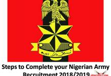 Steps to Complete your Nigerian Army Recruitment 2018/2019
