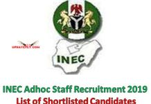 INEC Adhoc Staff Recruitment 2019 List of Shortlisted Candidates