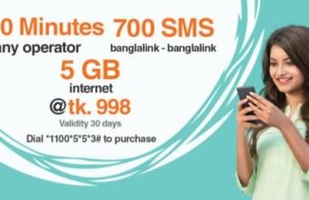 Banglalink 1200 Minutes, 700SMS & 5GB Internet 998TK Offer