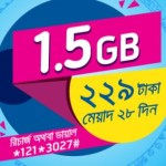 GP 1.5GB 229Tk Offer With 28 Days Validity