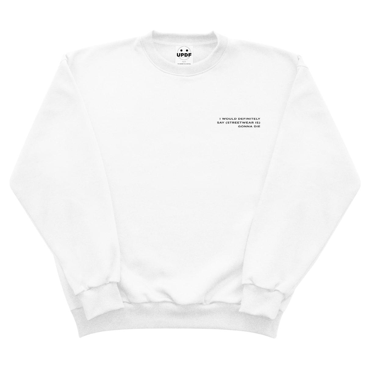 White dead streetwear sweatshirt updf
