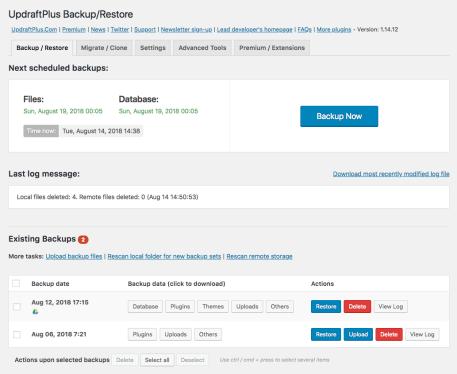 A screenshot of the UpdraftPlus WordPress plugin