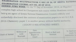 A KCSE Exams supervisor charged with leaking exams in