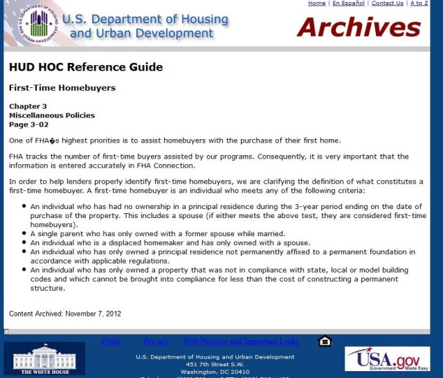 HUD Definition Of First Time Homeowner