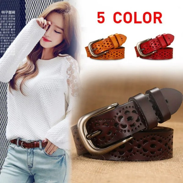 New Women Fashion Wide Genuine Leather Belt for Jeans 2