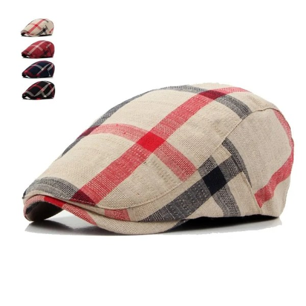 Classic England Style Plaid Berets Caps for Men and Women 1