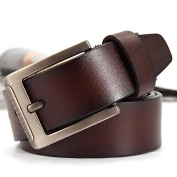 Men's Genuine Leather Fashion Belt with Pin Buckle 11