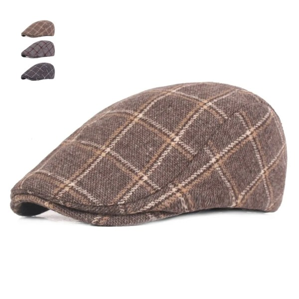Spring Autumn Hats For Men in Casual Plaid Cotton 1