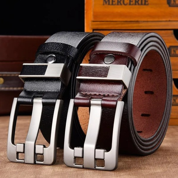 Men's Genuine Leather Belt with Luxury Pin Buckle 1