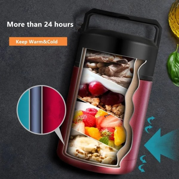 Double Stainless Steel Thermos Food Containers Lunch Box 4