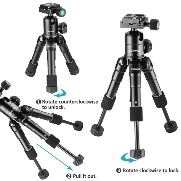 Portable 20 inches Compact Macro Mini Tripod with 360 Degree Ball Head 2