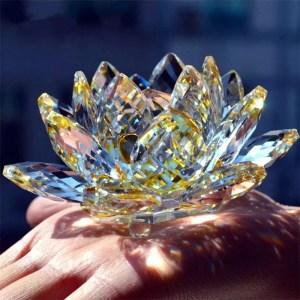 Quartz 80 mm Crystal Lotus Flower Crafts Glass Ornament