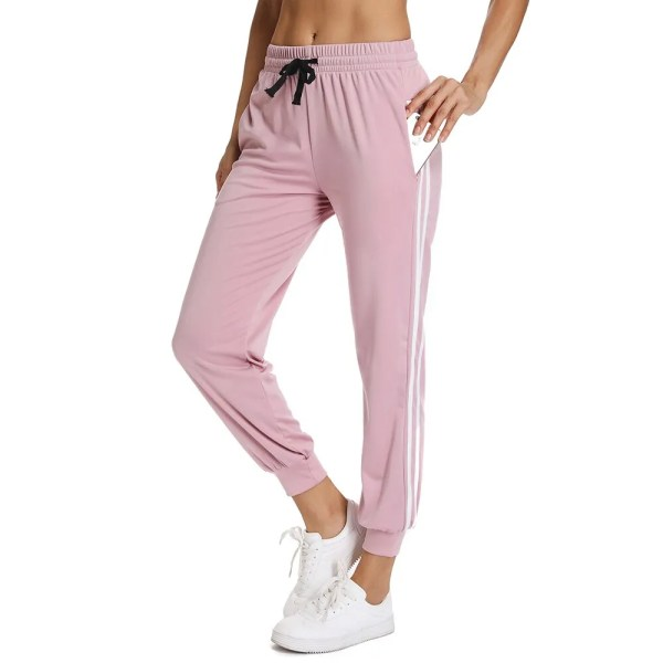 Womens Yoga Pants Gym Fitness Leggings Running High Waist Jogging Pants Sports Pants Drawstring Female Side Stripe Sport Pants