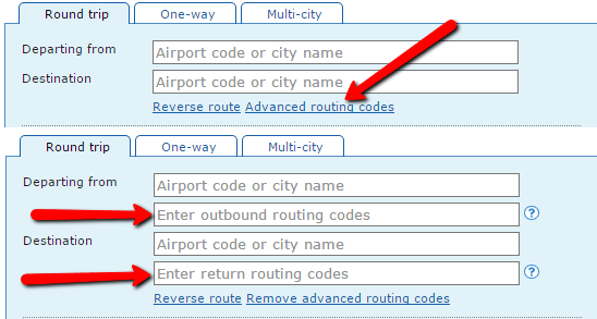 Advanced Routing Codes Form Show