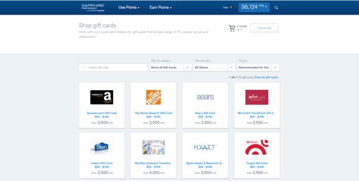 Chase offers a variety of gift cards to redeem your points for.