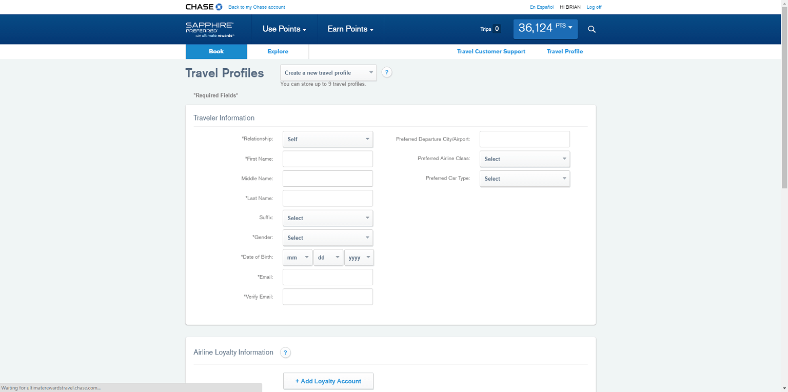 Create Chase Travel Profiles To More Quickly Book Chase Rewards Travel  Through The Chase Travel Portal