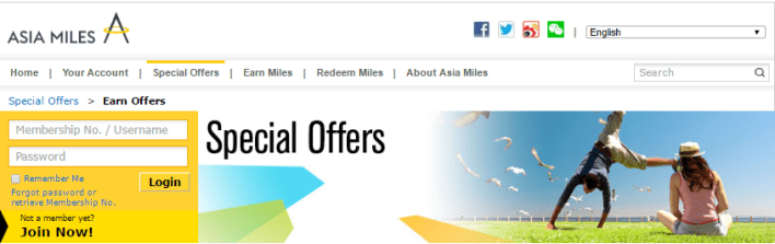 Cathay Pacific Asia Miles special offers
