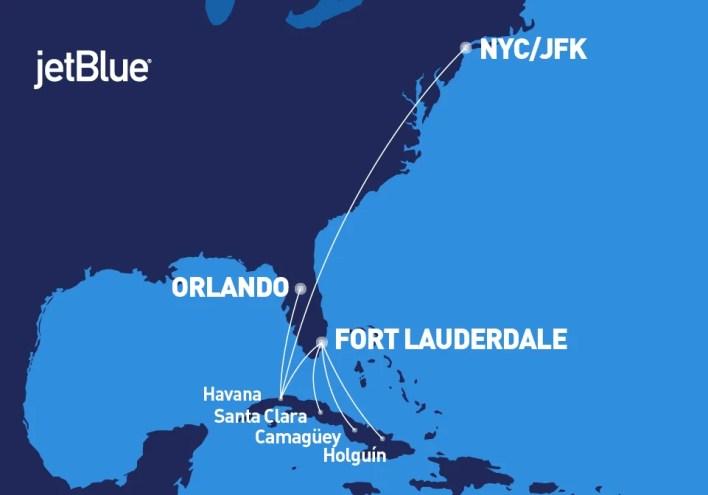 JetBlue Cuba Route Map