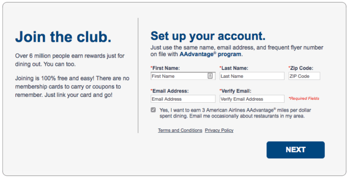 american aadvantage dining sign up