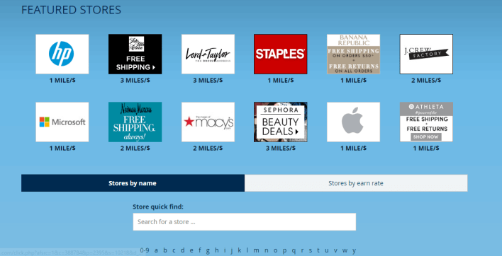 Delta SkyMiles Shopping Featured Stores