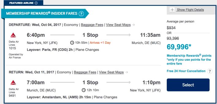 Amex Travel Booking