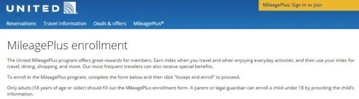 MileagePlus Enrollment
