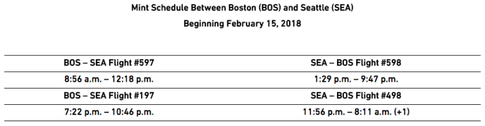 JetBlue BOS to SEA launch schedule