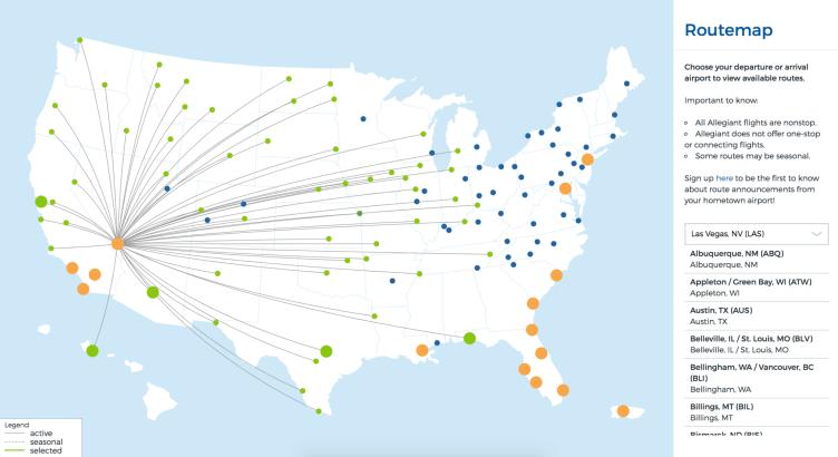 Allegiant Air Route Map