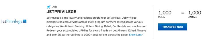 Jet Airways Thank You Points