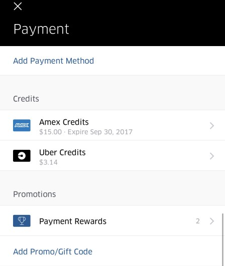 Uber Payment Screen