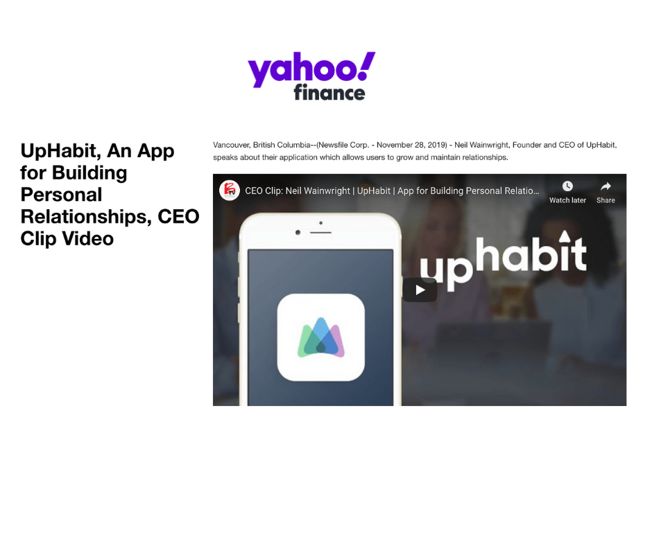 Yahoo Finance - UpHabit, An App for Building Personal Relationships