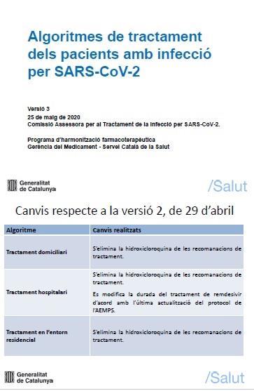 ACTUALITZACIÓ DOCUMENT: ALGORITMES DE TRACTAMENT DELS PACIENTS AMB INFECCIÓ PER SARS-COV-2