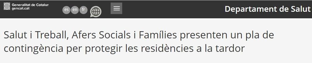 Salut i Treball, Afers Socials i Famílies presenten un pla de contingència per protegir les residències a la tardor