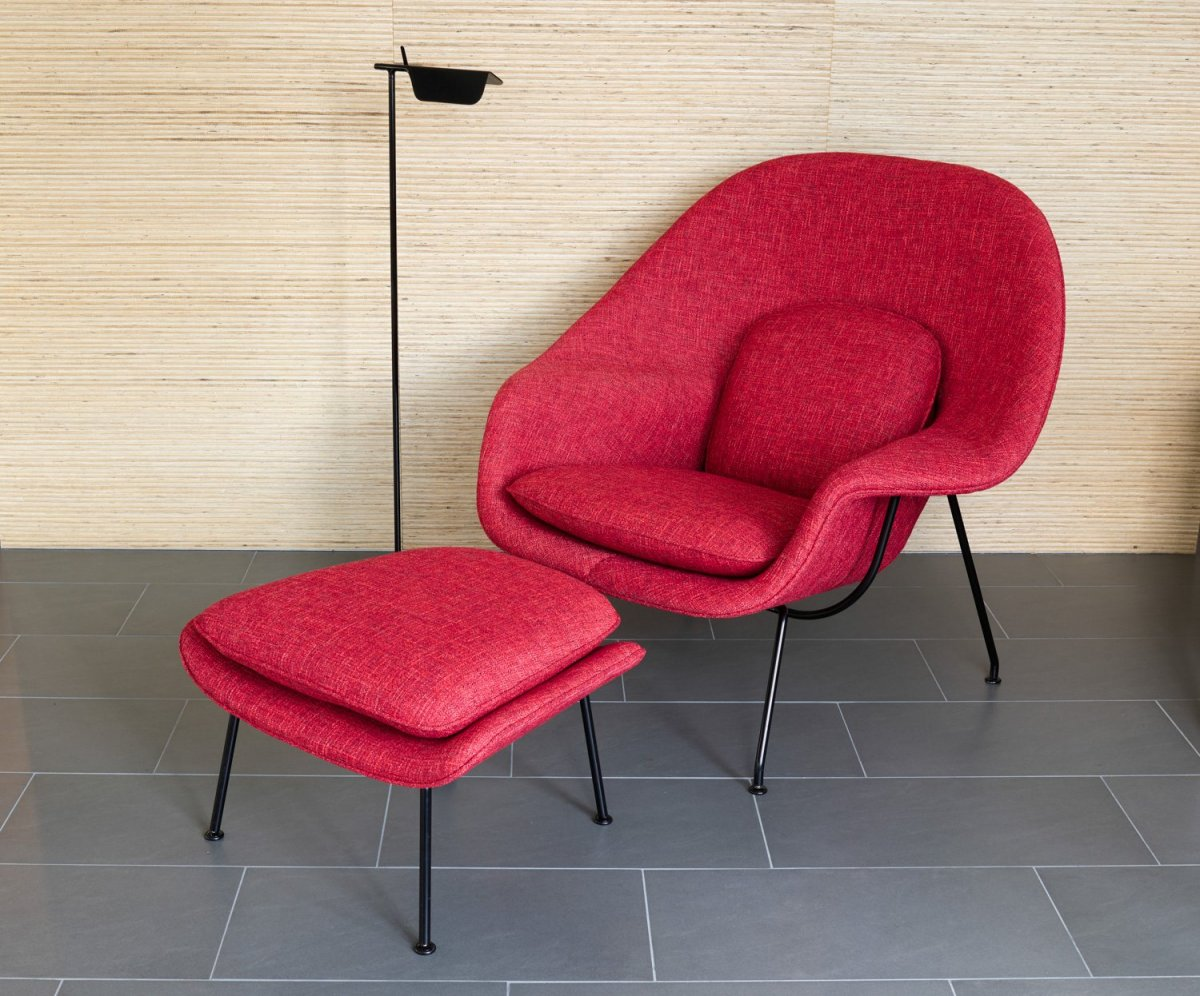 small bedroom occasional chair high back mesh office with headrest womb ottoman by eero saarinen for knoll | up interiors